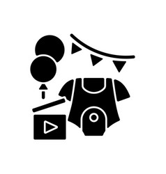 Baby shower party video black glyph icon vector