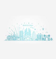 barcelona skyline spain vector image