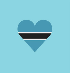 botswana flag icon in a heart shape in flat design vector image