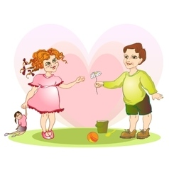 Boy give girl flower vector