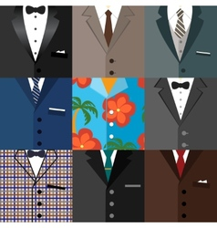 Business decorative icons set of suits vector image