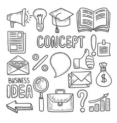 business doodles office tools pen computer notes vector image