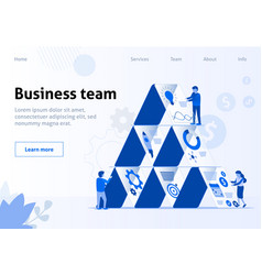 Business workflow and team interaction flat banner vector