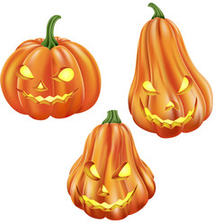 cartoon carved pumpkin isolated on white backgroun vector image