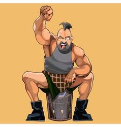 Cartoon muscular man happily cheers vector