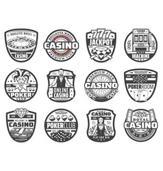 casino roulette wheels chips dice poker cards vector image
