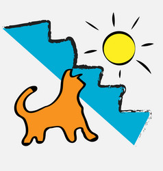cat is warm sunshine happiness positivity vector image