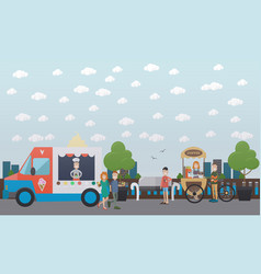 City embankment concept flat vector