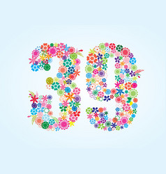 Colorful floral 39 number design isolated on vector