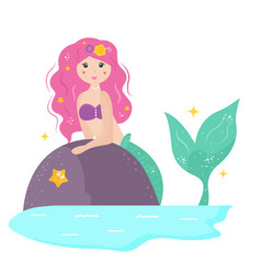 Cute cartoon mermaid with yellowhair vector