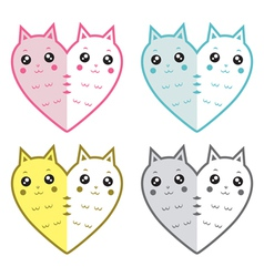 Cute cats-hearts vector image