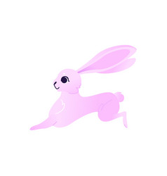 cute rabbit with pink fur running forward isolated vector image