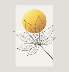 Design with gold tropical leaves vector