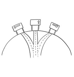 drawing of three ways crossroad and directional vector image
