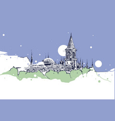 drawing sketch topkapi palace istanbul vector image