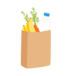 eco shopping bags paper bags with fruits and vector image