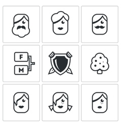 Family tree icons set vector