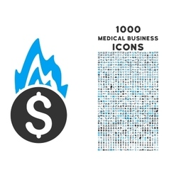 Fire Damage Icon with 1000 Medical Business Icons vector