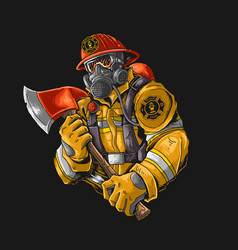 fire fighter with axe graphic vector image