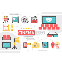 Flat cinematography infographic template vector