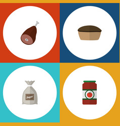 flat icon eating set of meat tart ketchup and vector image