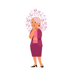 Flat old elderly woman thinking portrait vector