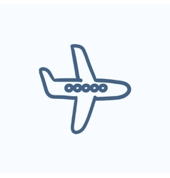 Flying airplane sketch icon vector image