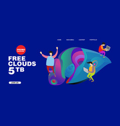 Free clouds storage promotion for banner vector