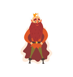 Funny bald majestic king character cartoon vector