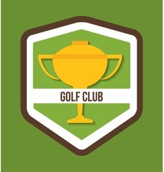 Gold trophy cup of golf sport design vector