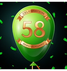 Green balloon with golden inscription fifty eight vector image
