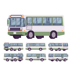 Green bus set vector
