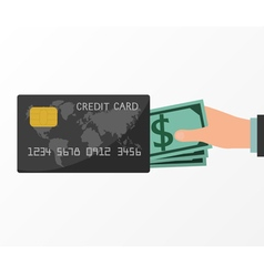 Hands holding money from credit card vector image
