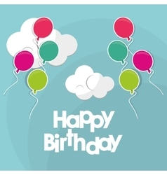 Happy birthday flying balloons clouds vector