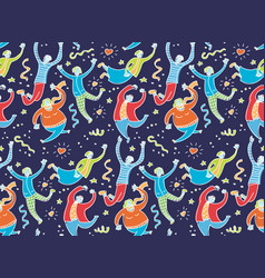happy jumping young people dark seamless pattern vector image