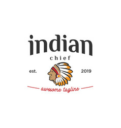 Head of indian chief vintage logo design vector