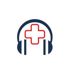 Headphone clinic music logo icon vector