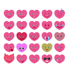 heart shaped funny emoticons isolated set vector image