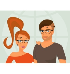 Hipster guy and his smiling girlfriend are wearing vector