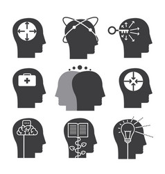 Human thinking icons set of mental abilities vector