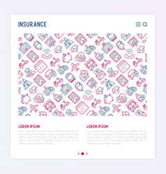 Insurance concept with thin line icons vector