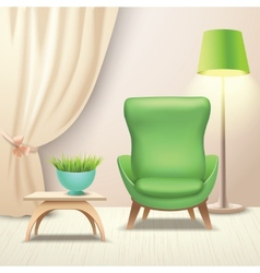 Interior design armchair vector