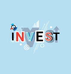 Invest business investment creative word over vector
