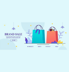 Landing page offers brand sale in cartoon design vector