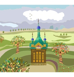 Landscape with a chapel vector image