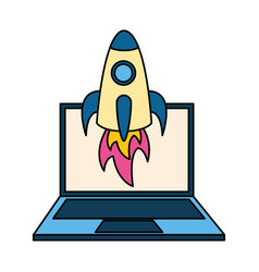 laptop computer rocket vector image