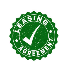 leasing agreement scratched stamp with tick vector image