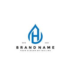 Letter h water drop logo design vector