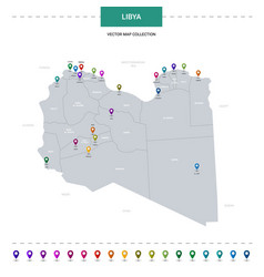Libya map with location pointer marks infographic vector