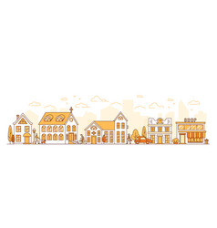 line art cityscape town street with houses vector image